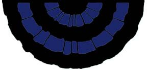 3' x 6'  Full Fan - Nylon Mourning Colors